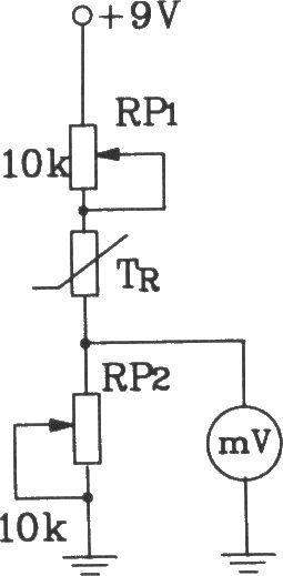 T-121温度传感器构成电子温度表电路图