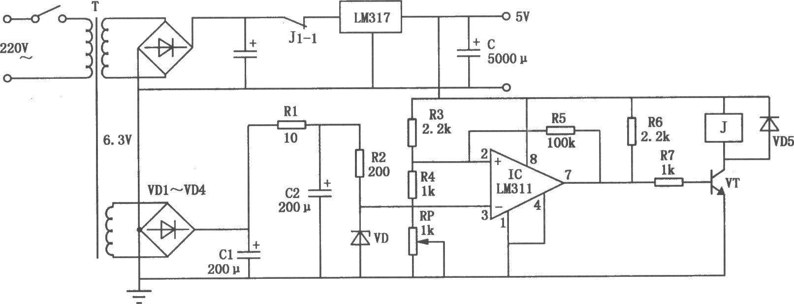 单板机电源过压保护电路图