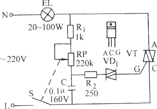 双向晶闸管无级调光、调速电路图