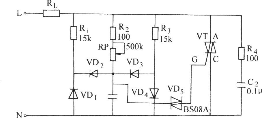双向晶闸管控制感性负载电路图