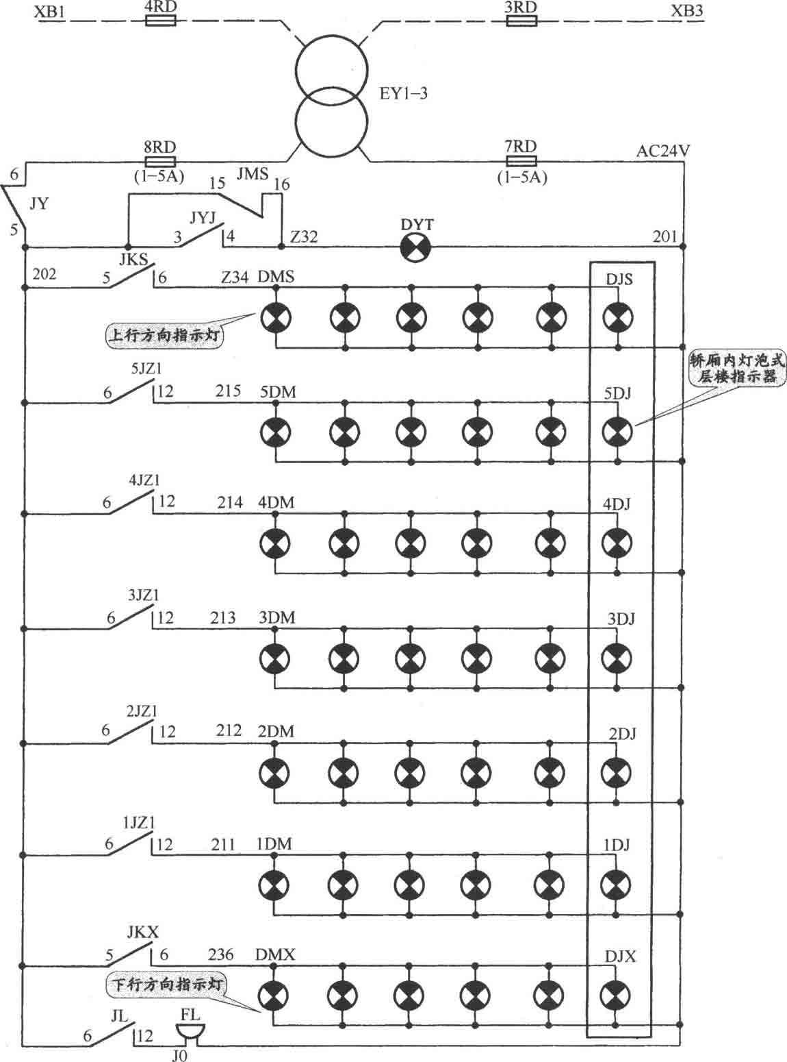 JKH1-771A电梯按钮电路图