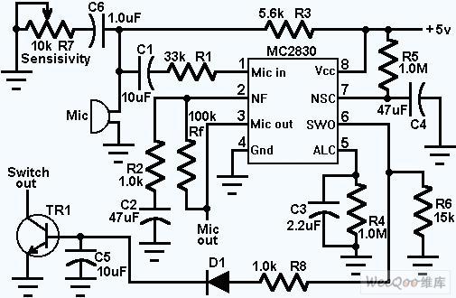 话筒低噪音语音前置放大器电路图