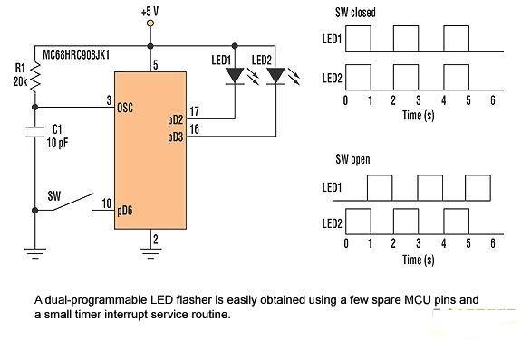 采用单片机的LED闪光灯电路