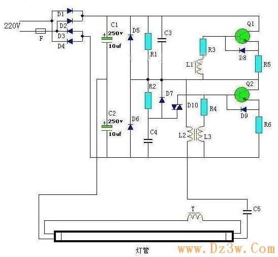 36W-40W熒光燈電子鎮流器電路圖