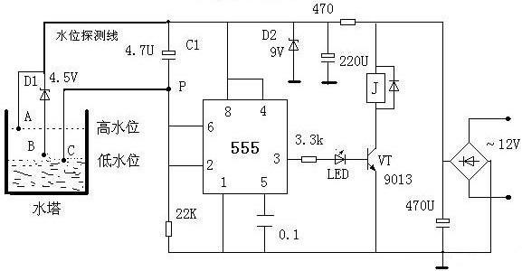 555芯片组成的两根信号线水位控制电路图