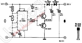 无电感器的12V转20V电源电路