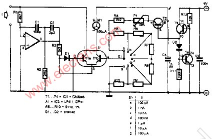 555定时器组成的低电流安培表
