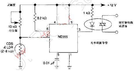 555组成的黑暗激活开关电路