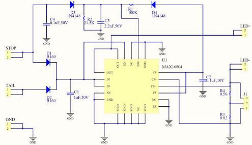 汽车尾灯LED驱动电路 MAX16804应用电路高清图片