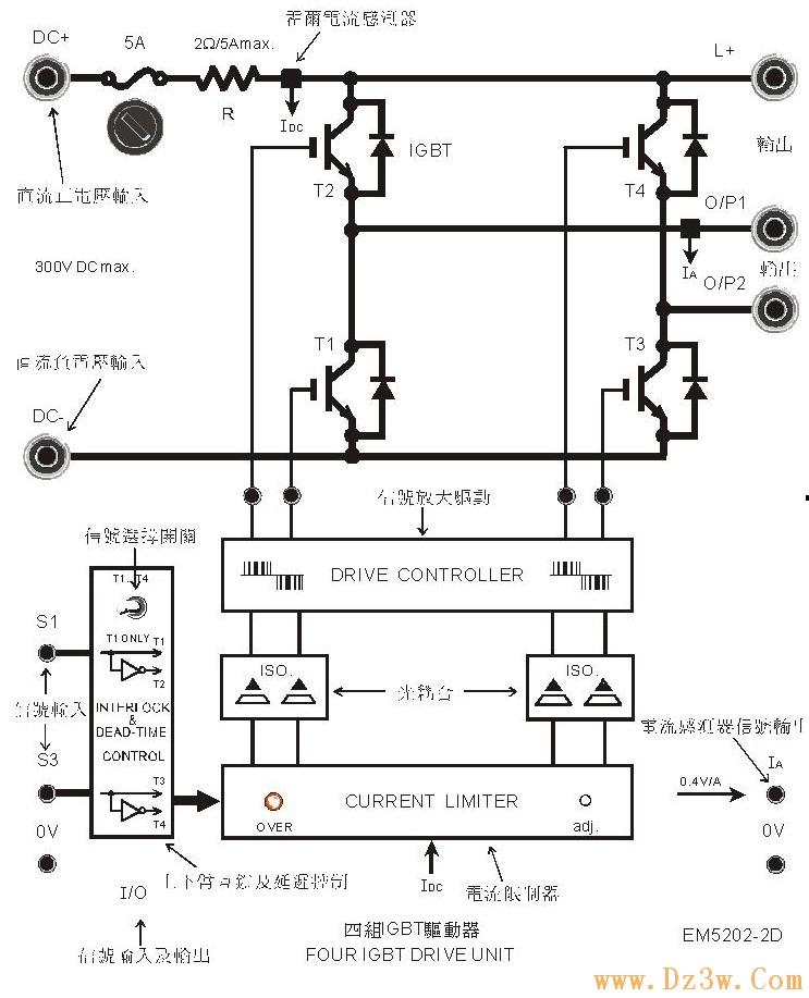 四组IGBT驱动器EM5202-2D电路图说明