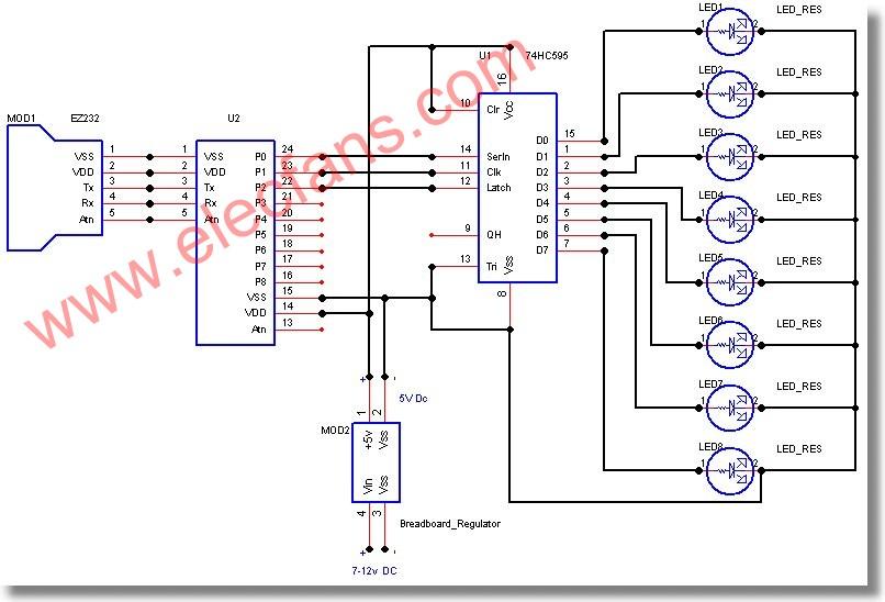 74hc595组成的led驱动电路