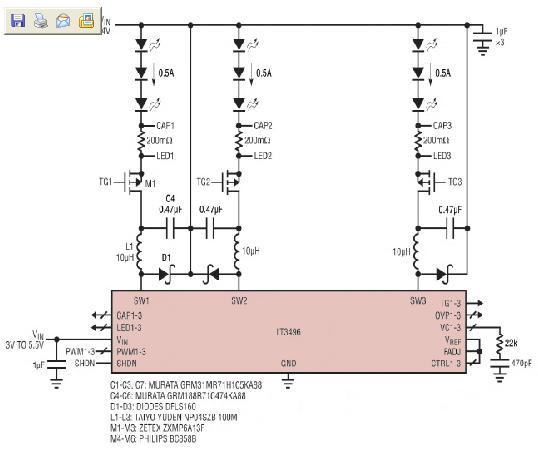 三路输出LED驱动器共阳极LED串驱动电路