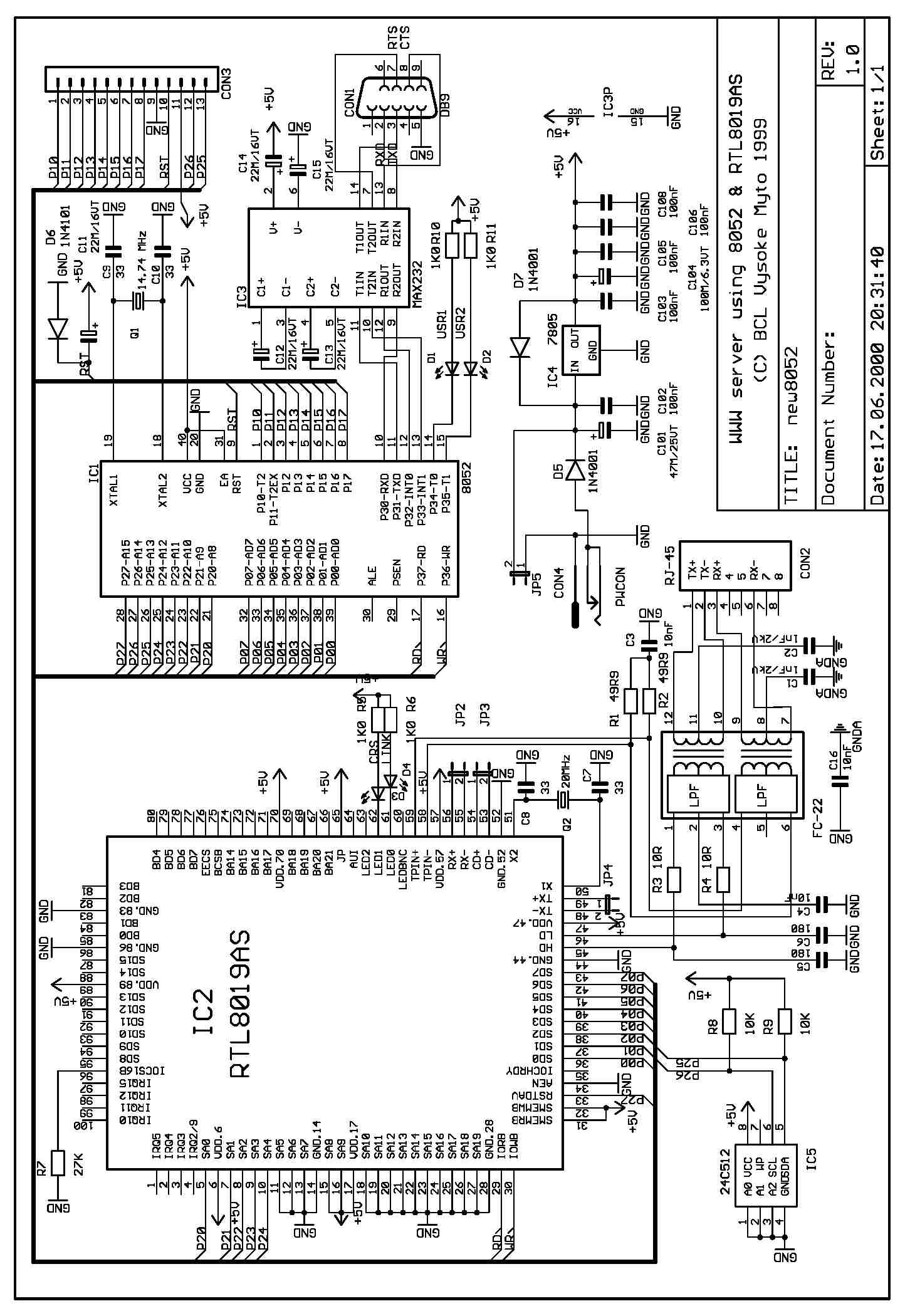 RTL8019应用电路图