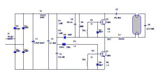 110V供电的节能灯电子镇流器电路图及设计要点