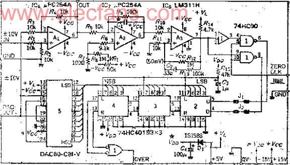 电压范围为正负10V,12位分辨率的自动调零电路图