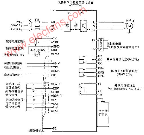 森兰BT12S作风机、水泵专用变频器的接线图
