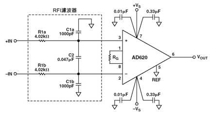 用于AD620系列仪表放大器的RFI抑制电路
