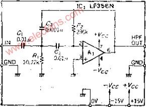 带增益的多重反馈高通滤波器电路图