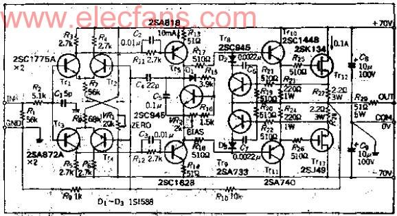 高电压输出的功率MOSFET放大器电路图
