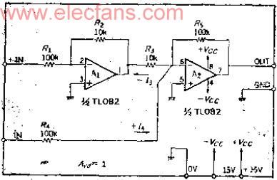 正负100V共模电压的高电压输入差动放大器电路图
