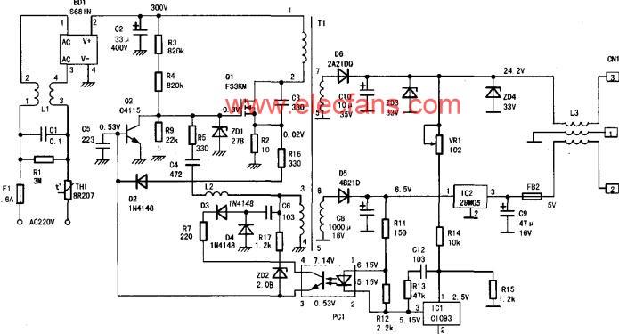 佳能S100SP打印机开关电源电路及原理分析