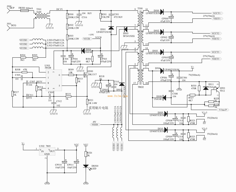 交流380V供电的变频器开关电源电路图