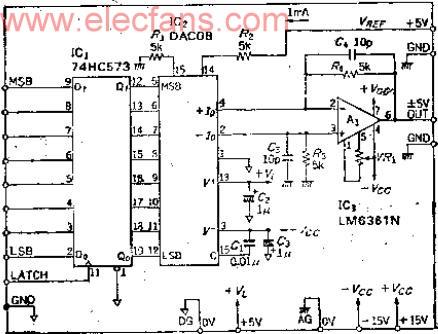 8位双极性D-A转换器DAC08应用电路图