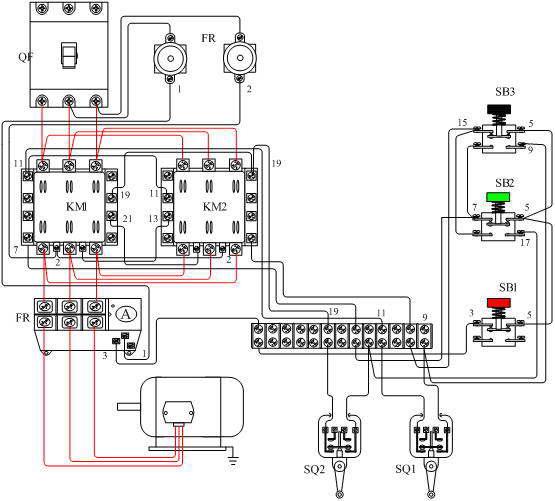 电动机可逆带限位控制电路接线图图片