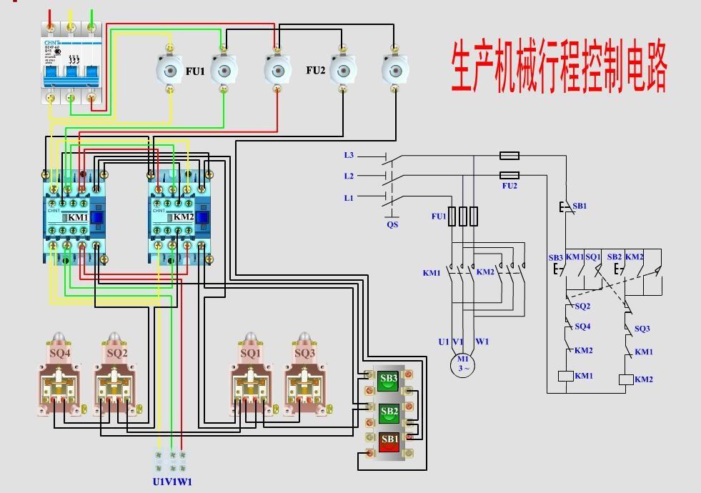 生产机械行程控制电路及接线图