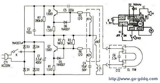 奥特朗MT-813型电子钟/护眼台灯电路工作原理