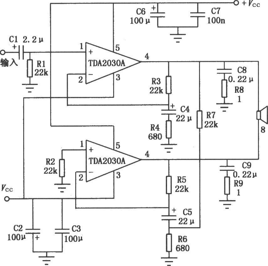 tda2030a音频功率放大器的btl应用电路图片