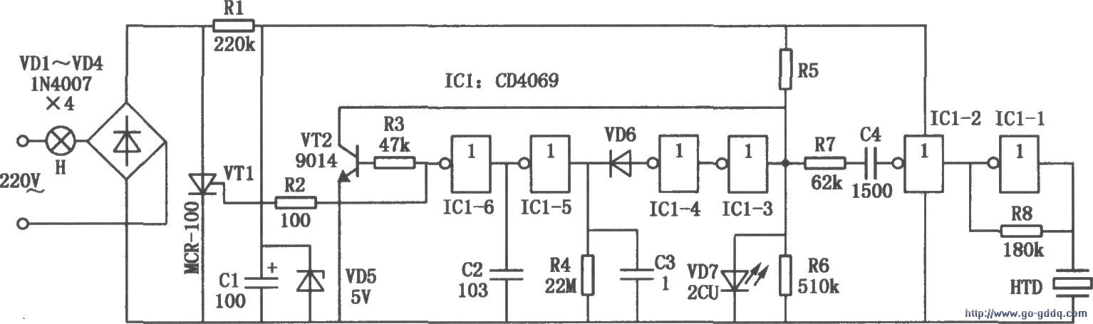 CD4069组成的照明灯节能控制器