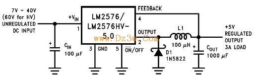 LM2576典型应用电路及注意事项(5V,3A输出)