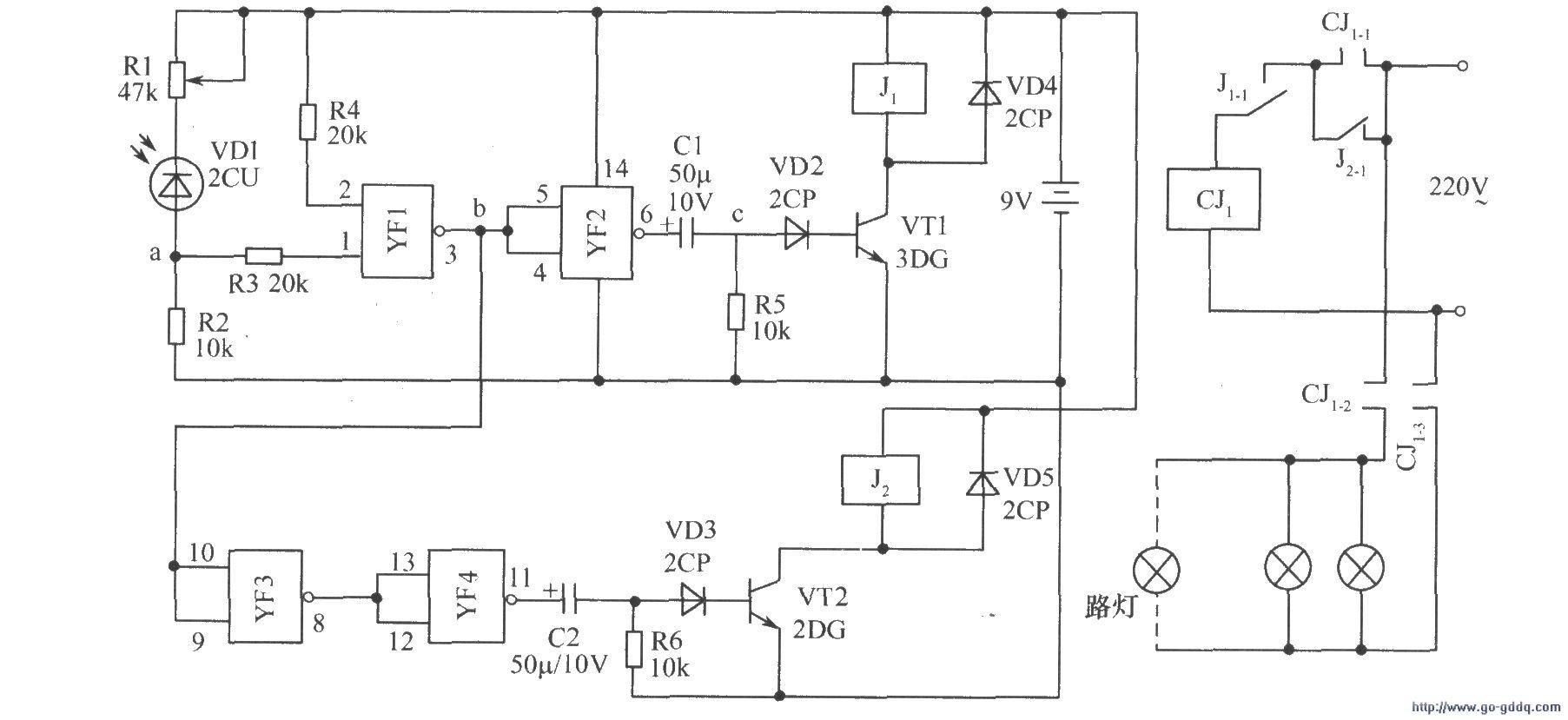 光控节能路灯(一)电路