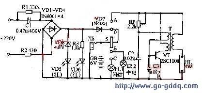 龙华牌DL-03型充电应急灯电路