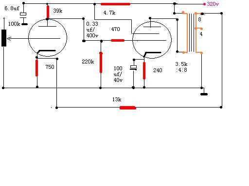 6P3P电子管单端胆机电路图图片