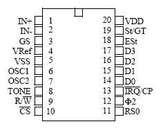 双音多频(DTMF编码/解码)MT8880引脚图及编解码表