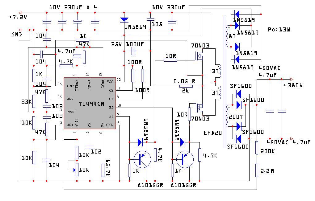 3525组成的电鱼机电路图 -开关电路图图片