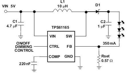 165 LED升压转换器应用电路