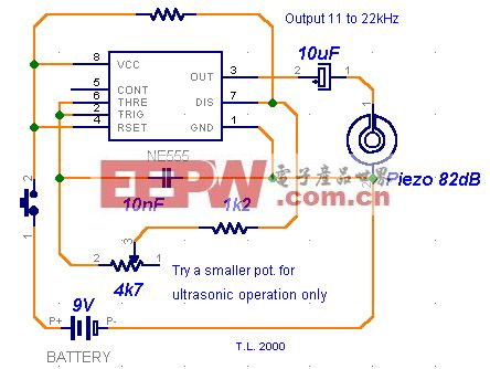 用NE555制作的超声波撵狗器