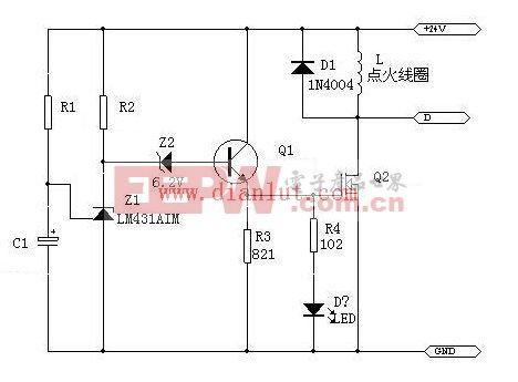 传感器技术电路图 ->lm431设计的延时开关电路     工作原理:r1和c1