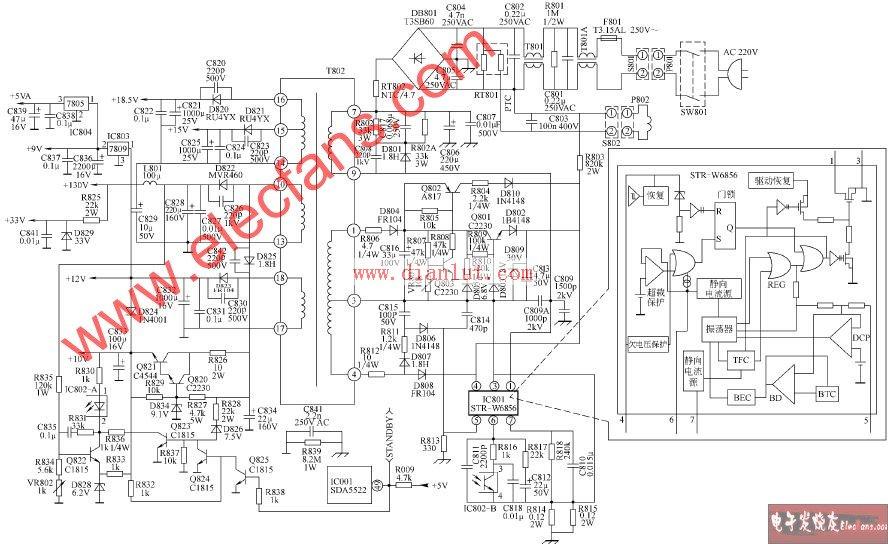 TCL-NT2965B(A21机心)彩色电视开关电源电路