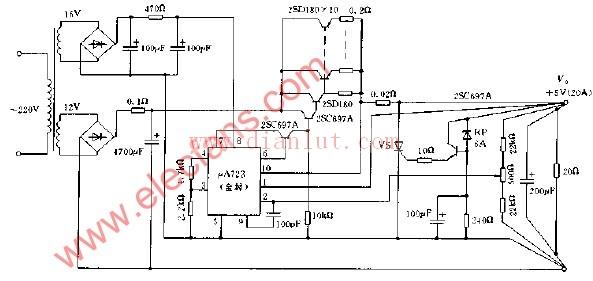 5v稳压电源电路图 四个原理图图片