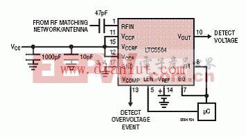 LTC5564 600MHz 到15GHz功率检测电路
