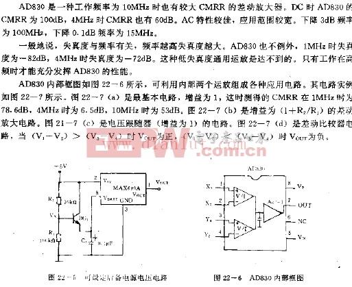 视频差动运算放大器AD830电路