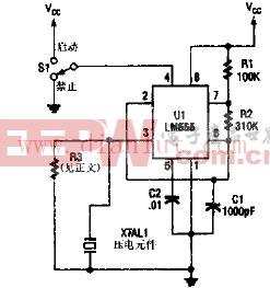 激励一个压电变换器的555振荡器