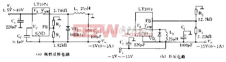 LT1074 LT1076极性反转与升压变换器电路图