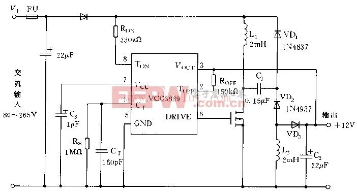 UC3889构成的非隔离12V直流稳压器实用电路