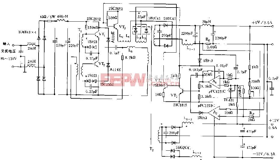 使用电源控制型磁放大器的3路稳压电源
