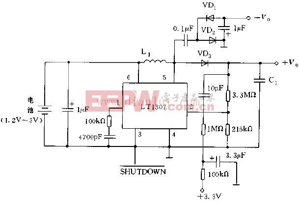 LT1307构成的冷阴极荧光灯电源电路图